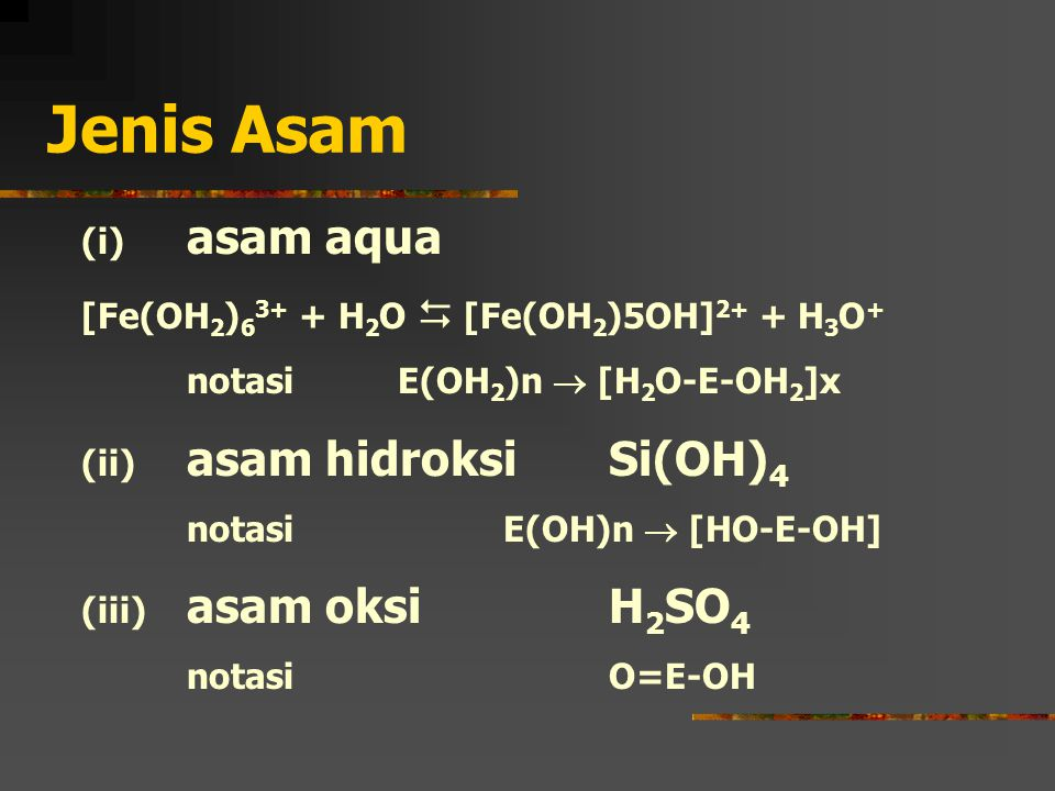 Jenis Asam (i) asam aqua [Fe(OH2)63+ + H2O  [Fe(OH2)5OH]2+ + H3O+